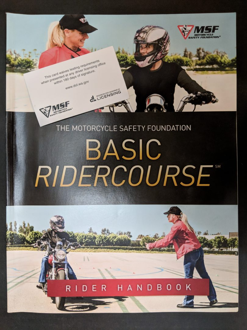 Motorcycle class manual and course completion card
