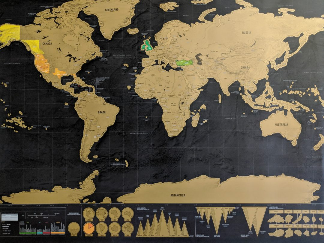 Scratch world map with some countries revealed