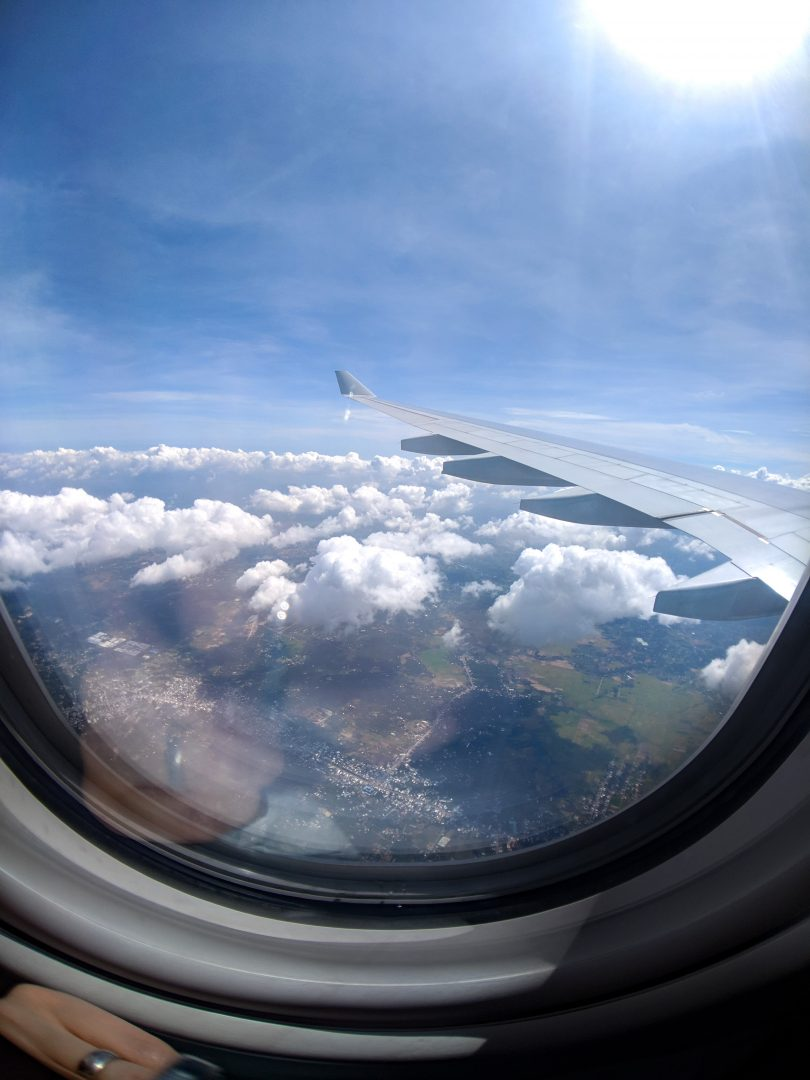 View of Vietnam from airplane window
