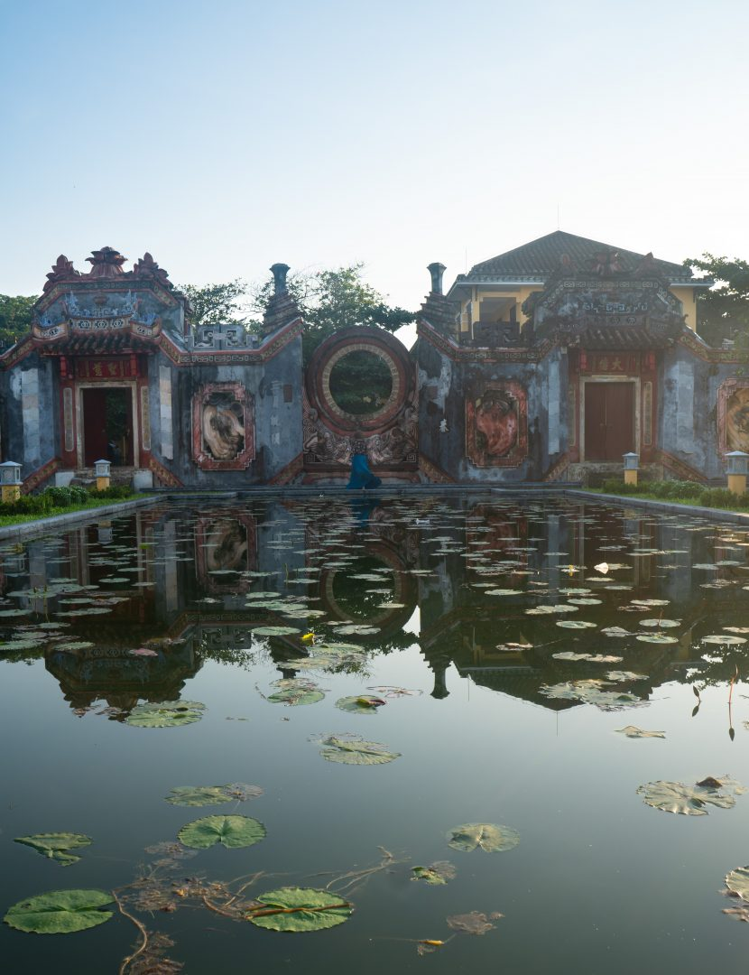 Temple with reflecting pool in Hoi An Vietnam