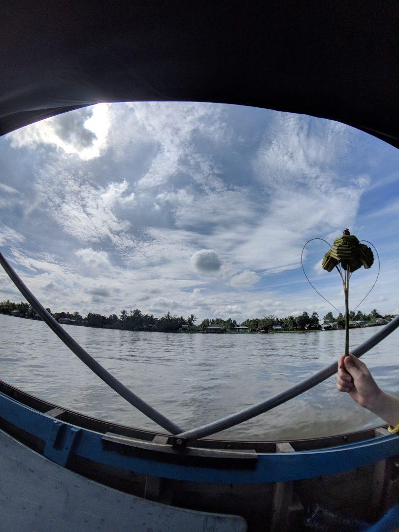 Reed art along Mekong Delta river