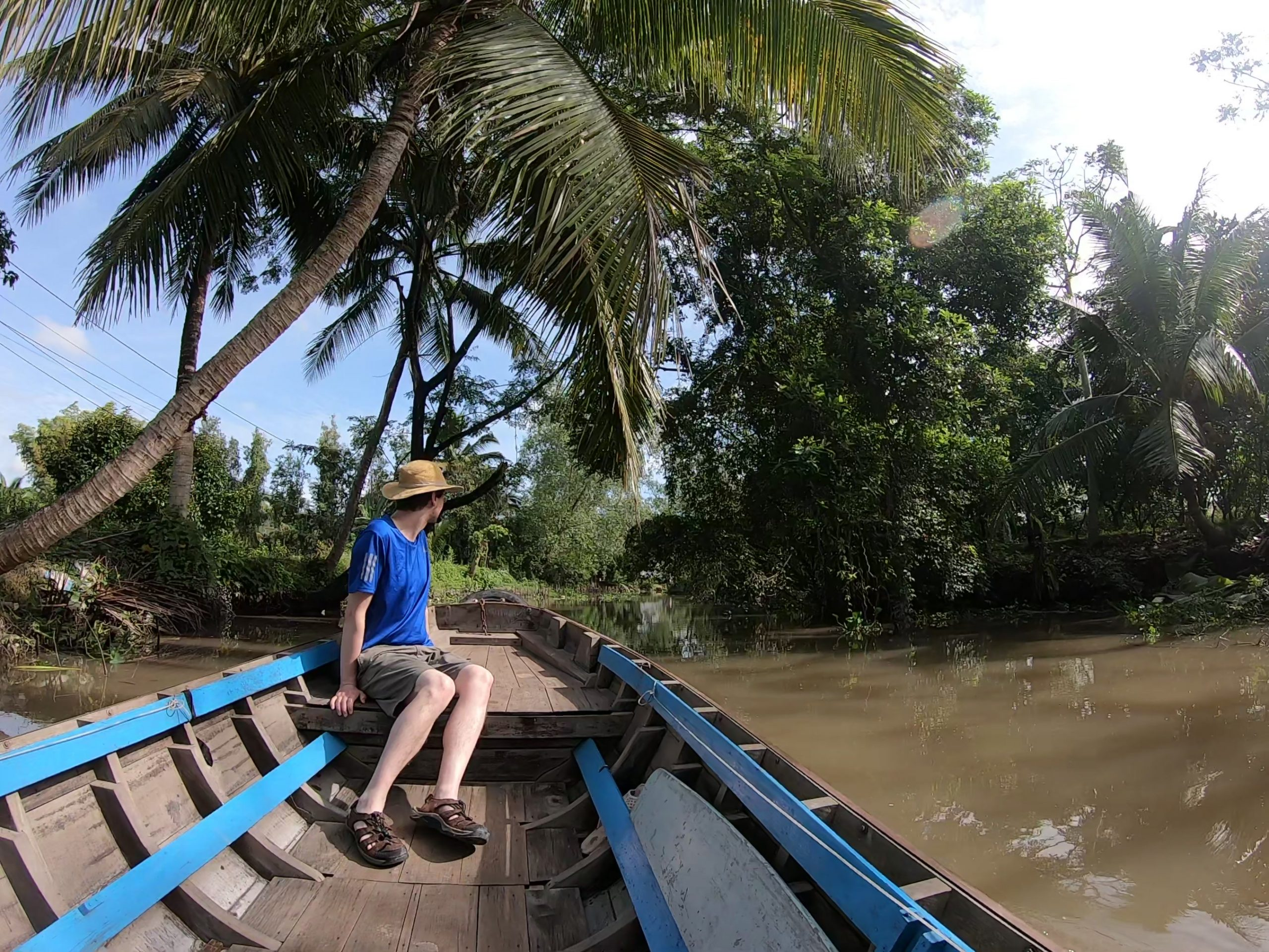 Man in Mekong Delta river boat