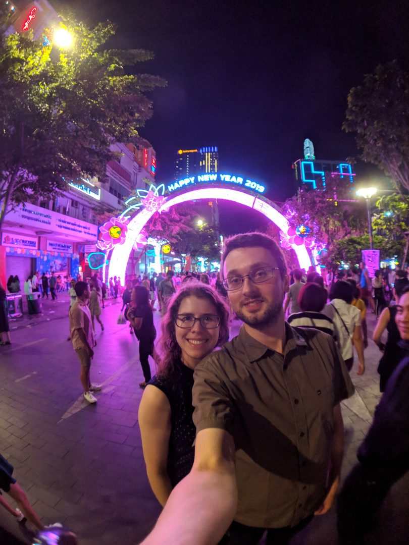 Man and woman at Ho Chi Minh City new years celebration
