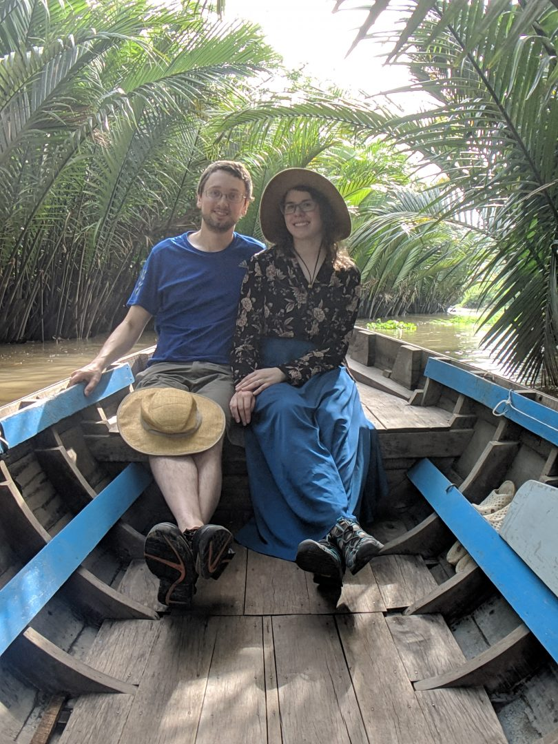 Tourists in Mekong Delta river boat
