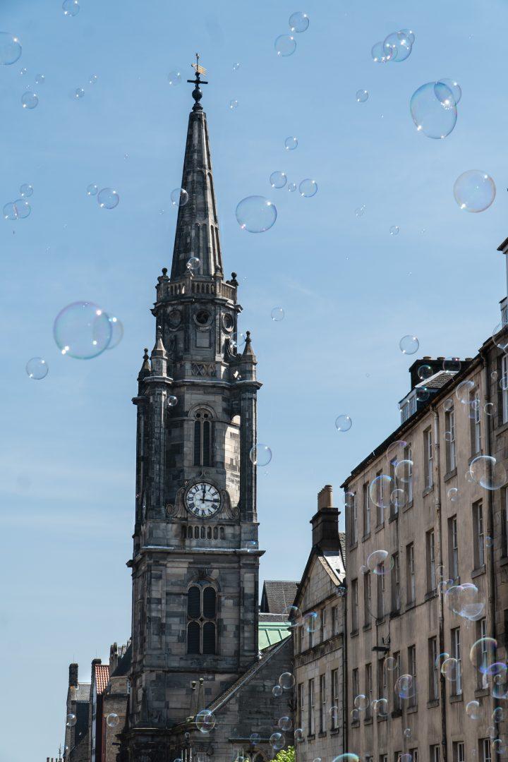 Edinburgh Royal Mile with bubbles