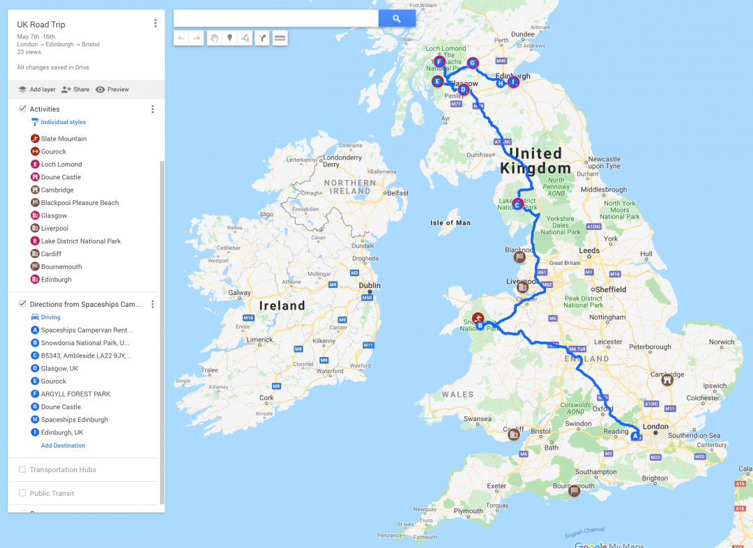 UK itinerary display in Google Maps