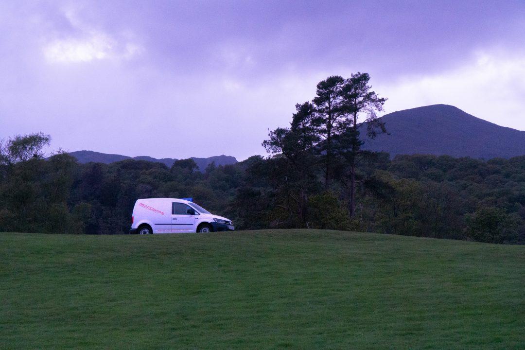 spaceships campervan parked on hillside
