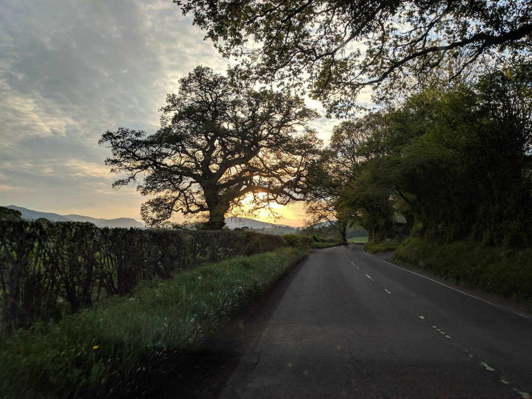 Road in Snowdonia Wales at sunset
