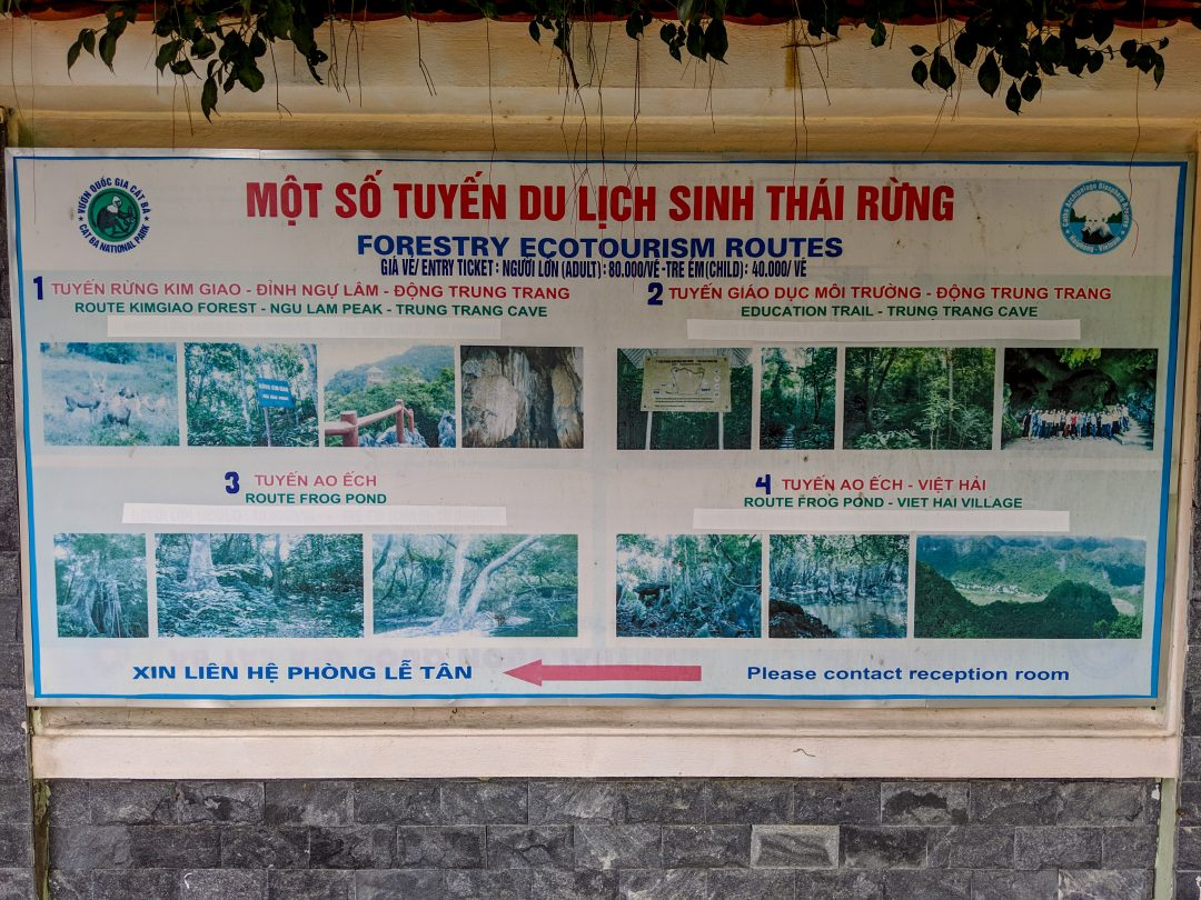 Cat Ba National Parks Hiking Routes Sign