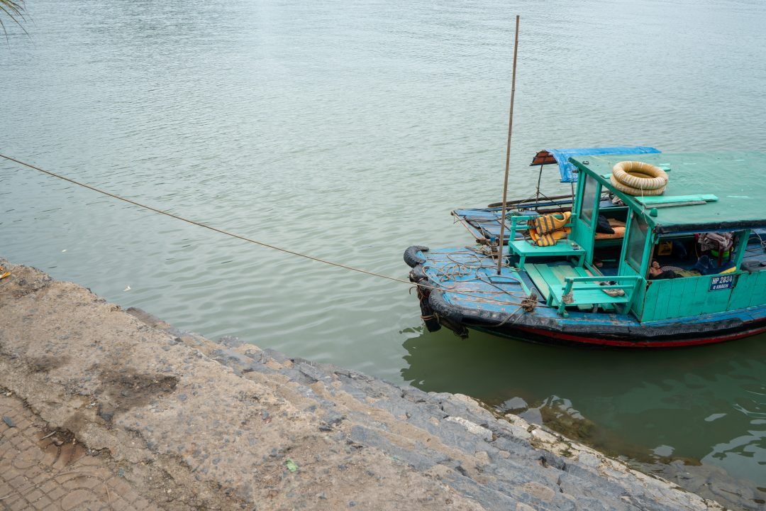 Fishing Boat Tied at Cat Ba Harbor