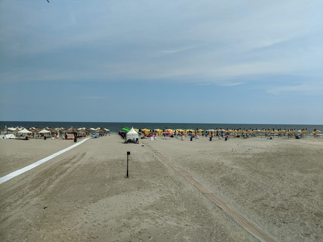 Beach chairs at the Black Sea in Romania