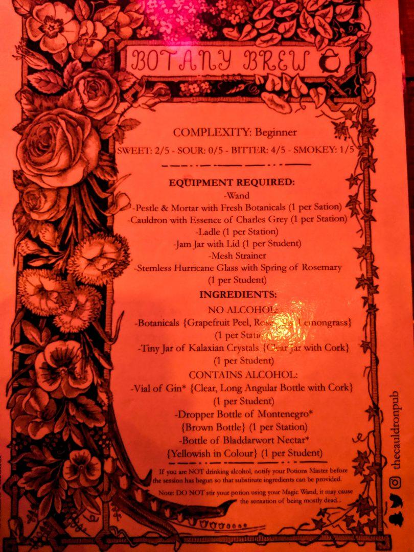Botany Brew Instruction Sheet