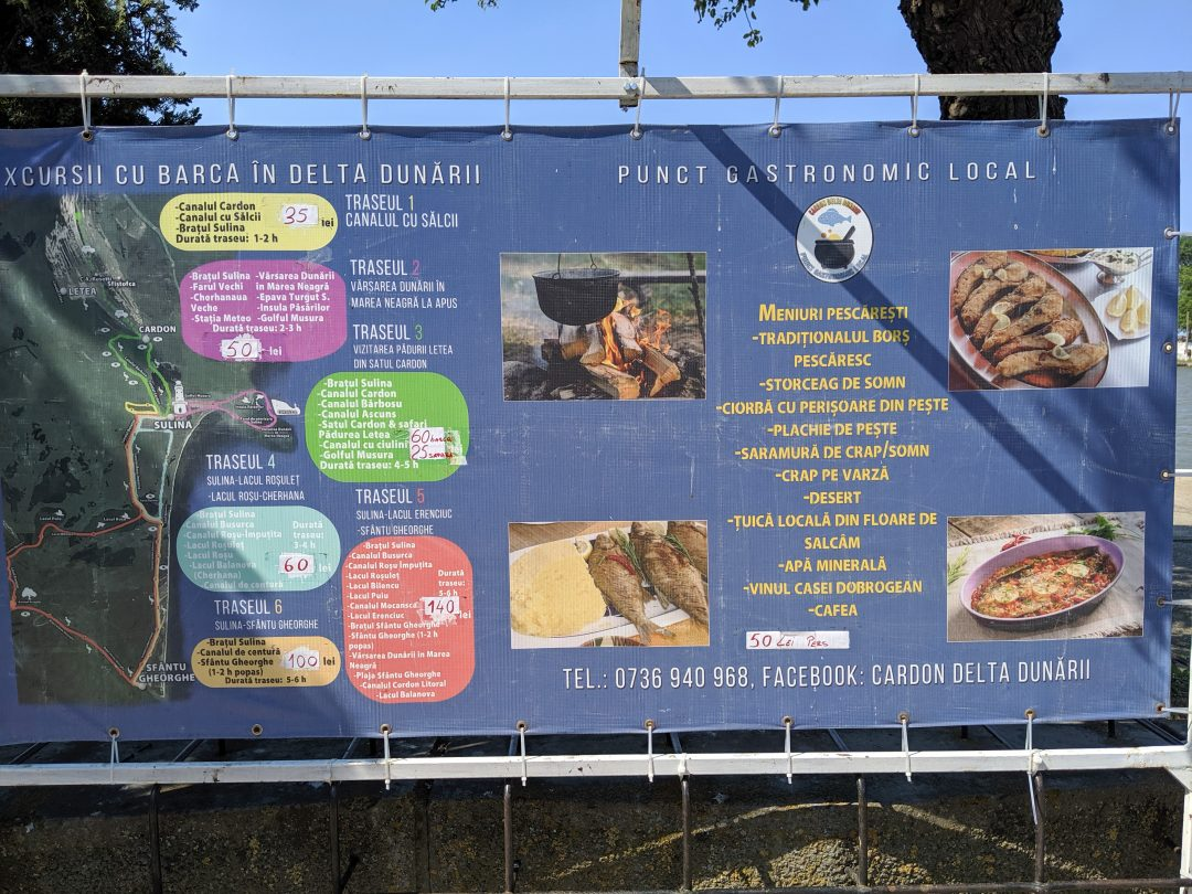 Danube Delta Excursion menu board 3