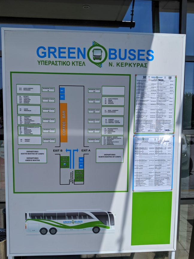Corfu Green Bus Reference Table