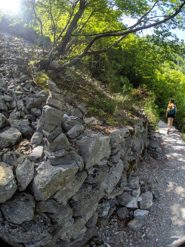 Woman hiking E4 trail in Greece