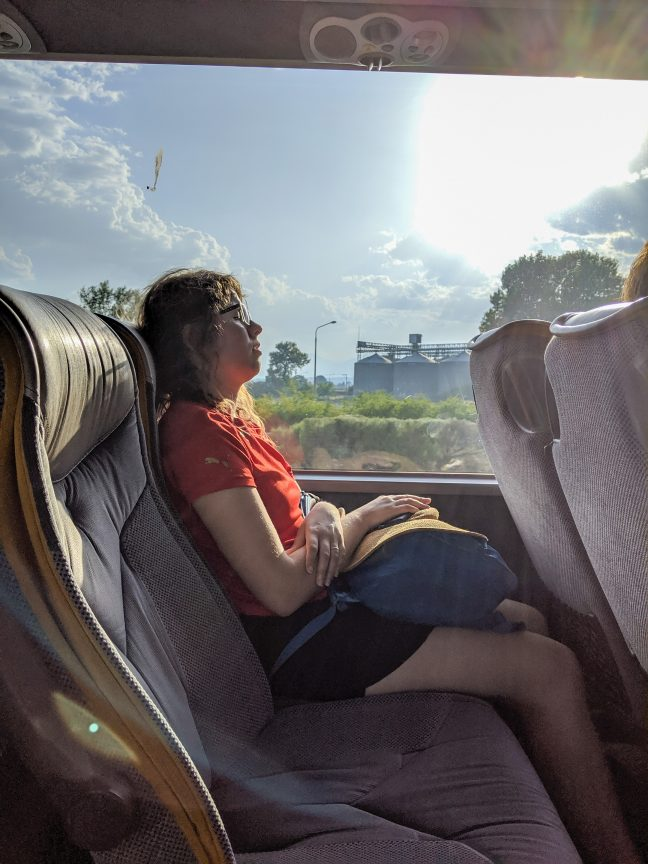 Woman sleeping on Greece bus