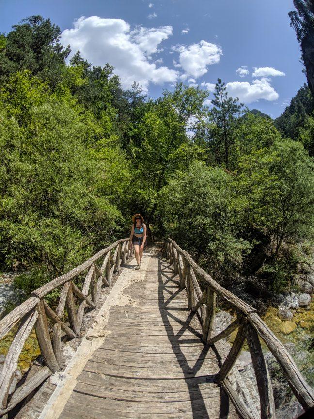 Woman hiking in Greece Mount Olympus