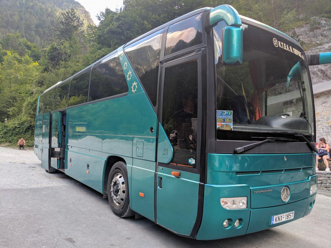 Shuttle bus down Mount Olympus