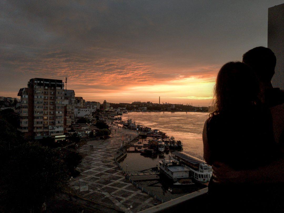 Sunset over the Danube Delta in Tulcea