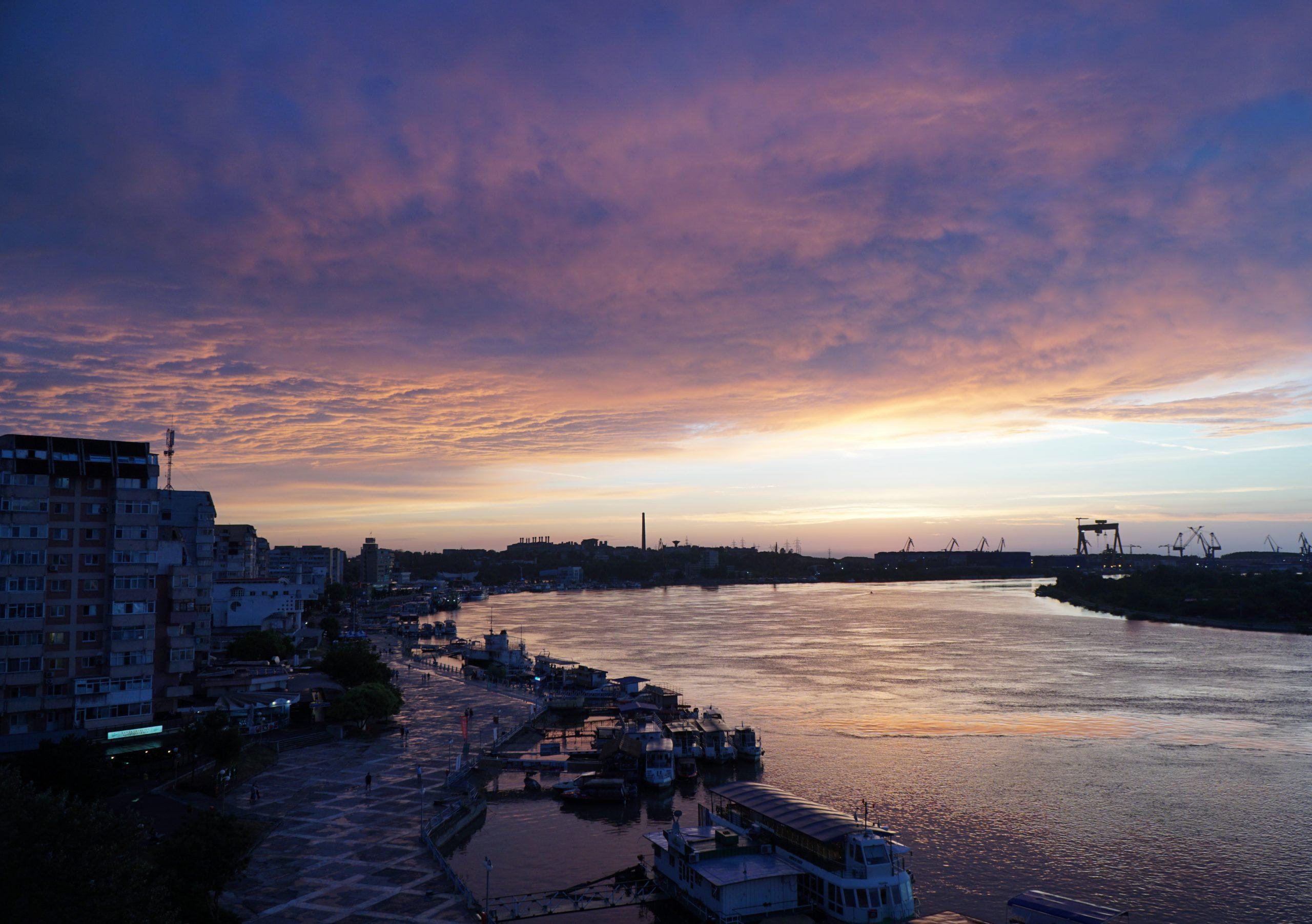 Sunset over the Danube Delta Romania