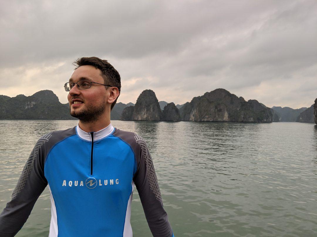 Man in Rashguard Preventing Sunburn Ha Long Bay