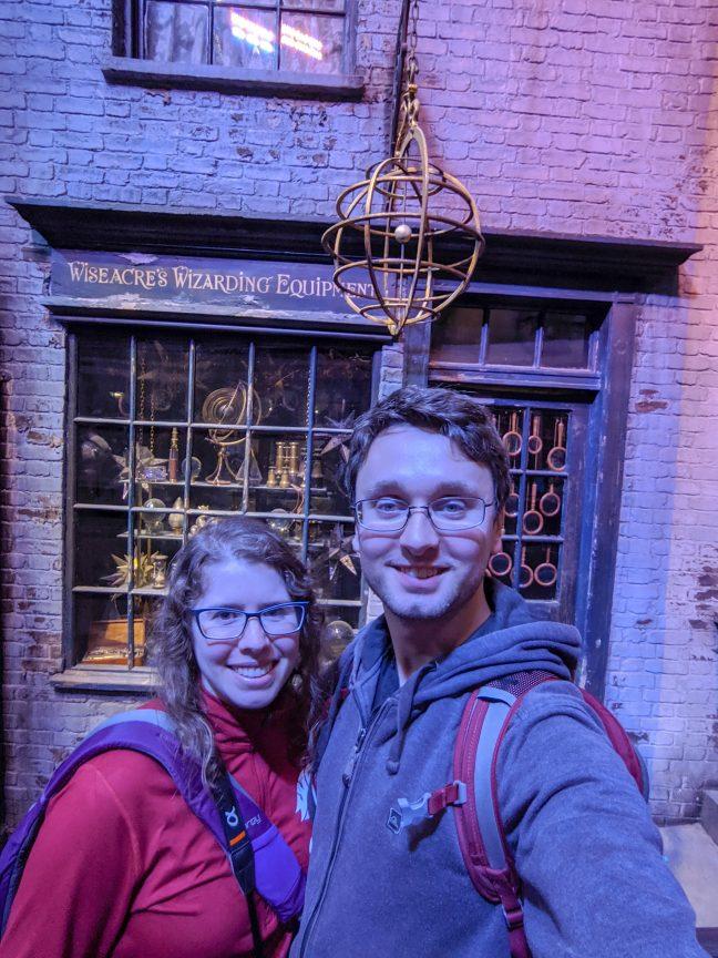 Couple strolling through Diagon Alley