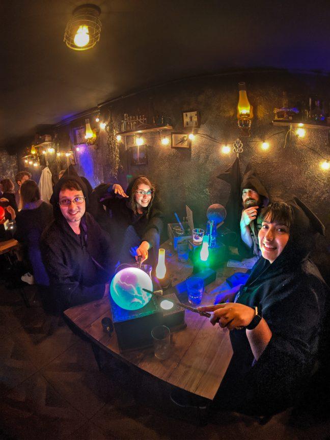 Group having fun at The Cauldron potions class