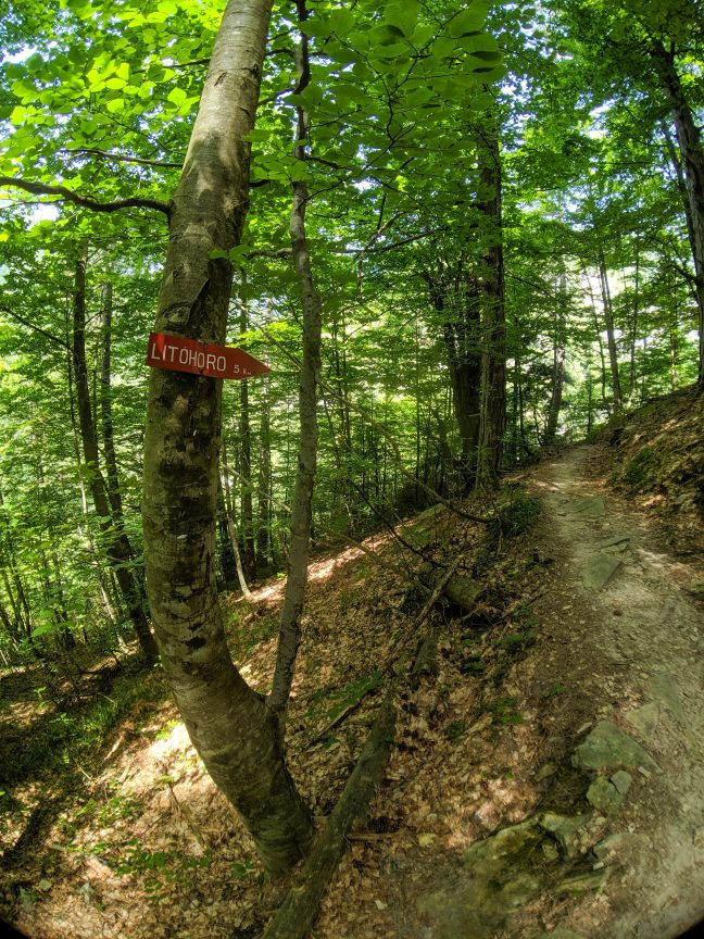 Mount Olympus trail with sign for Litochoro