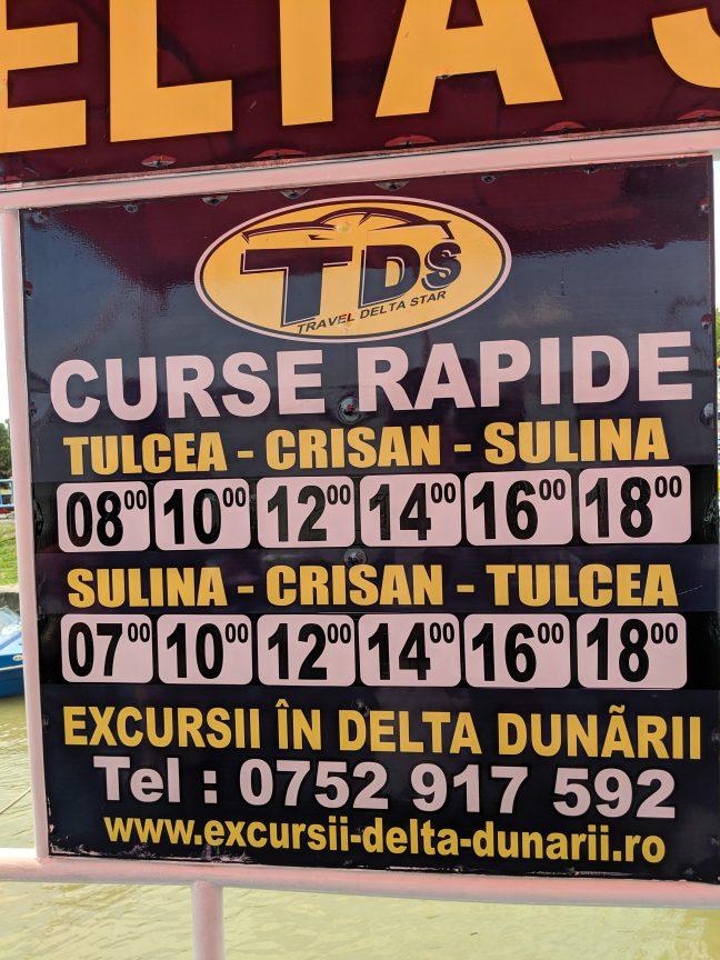 Travel Delta Star timetable Tulcea
