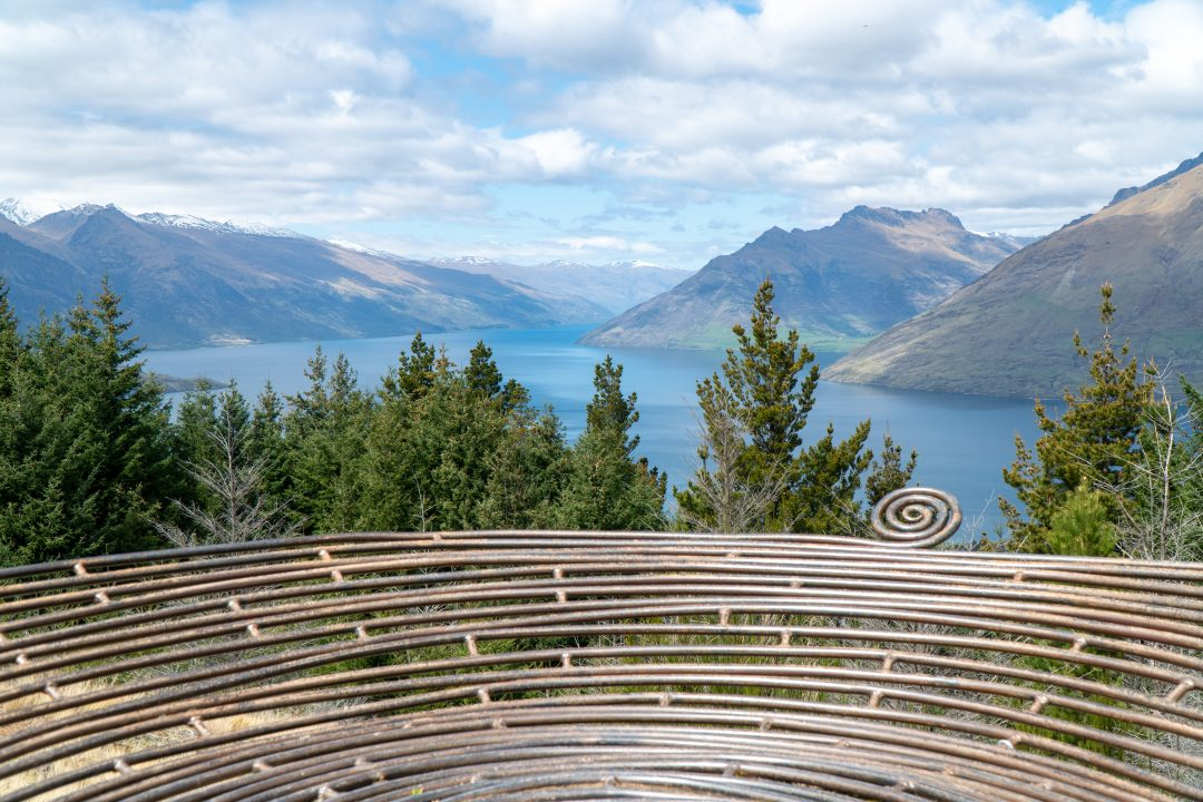 View of lake and mountains surrounding Queenstown