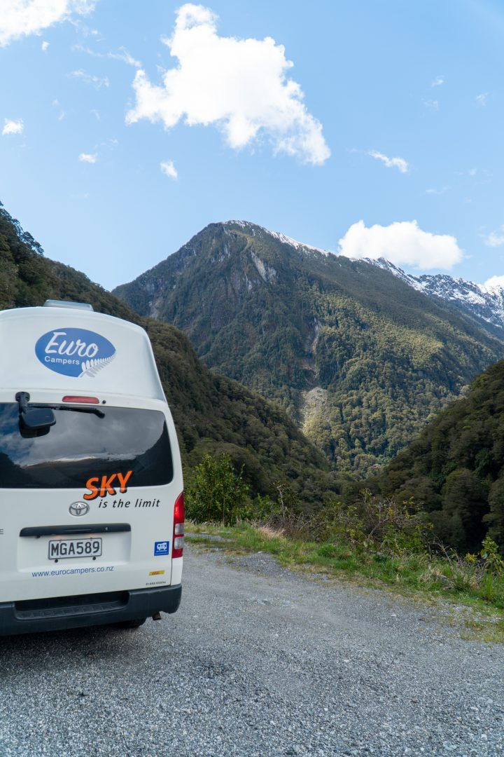 Campervan with Wanaka, new Zealand in the background.