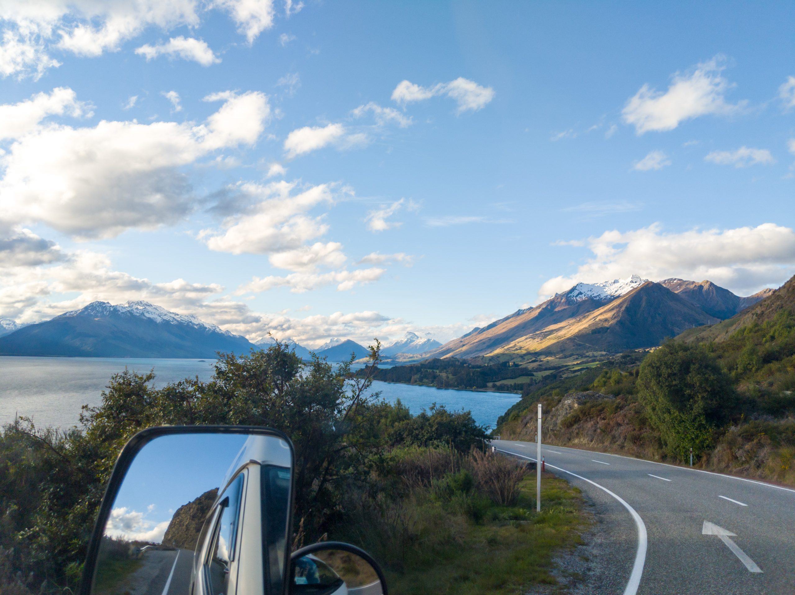 Campervan driving the Queenstown - Glenorchy Road