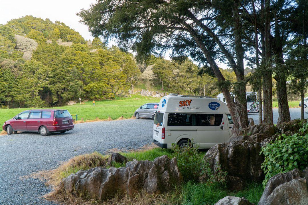 Parking lot at Waipu Caves