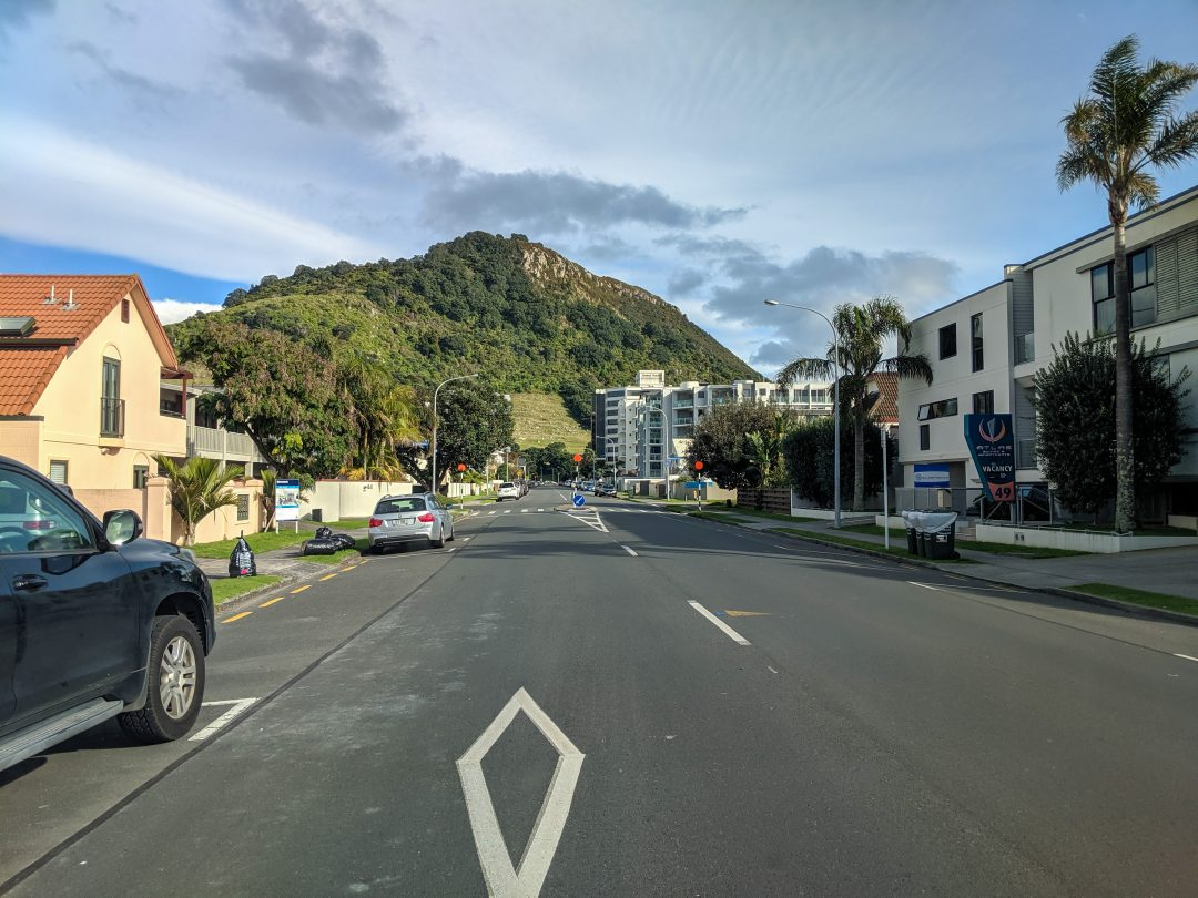 Caution, Pedestrian crosswalk ahead. Tips for driving in New Zealand.