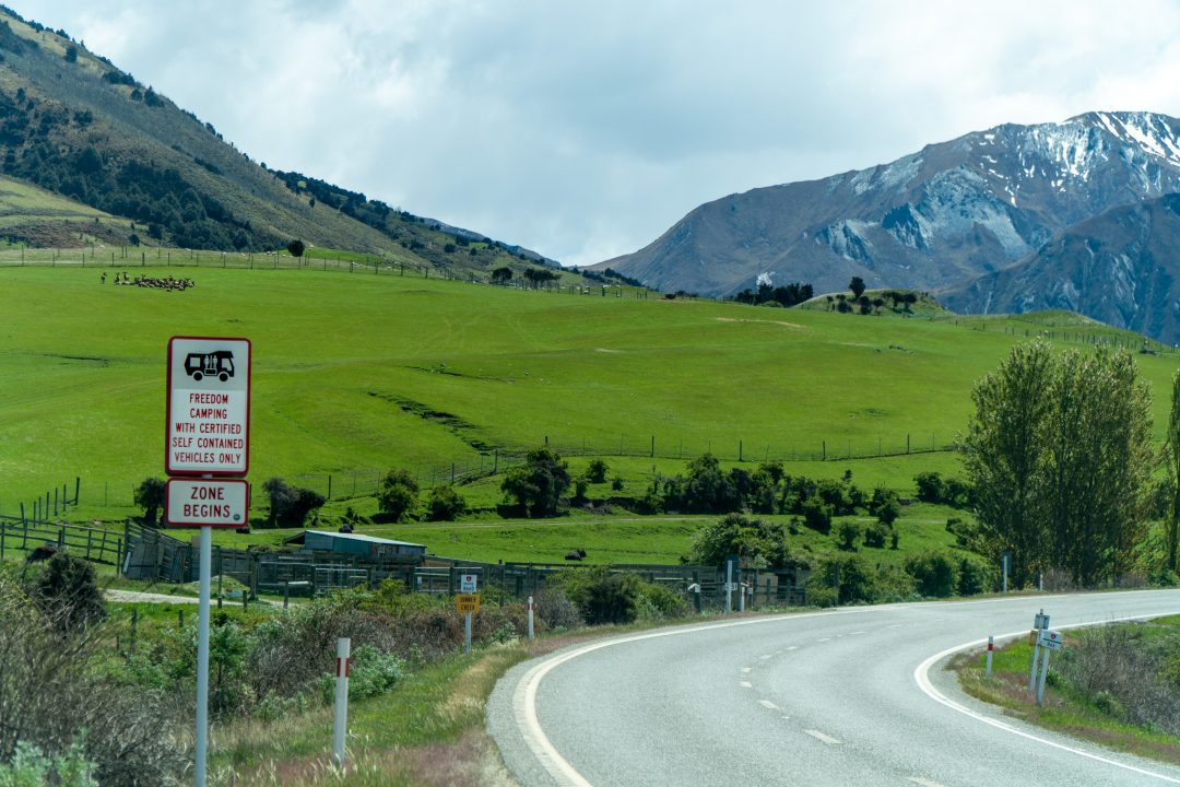 Freedom Camping Begins Sign in New Zealand