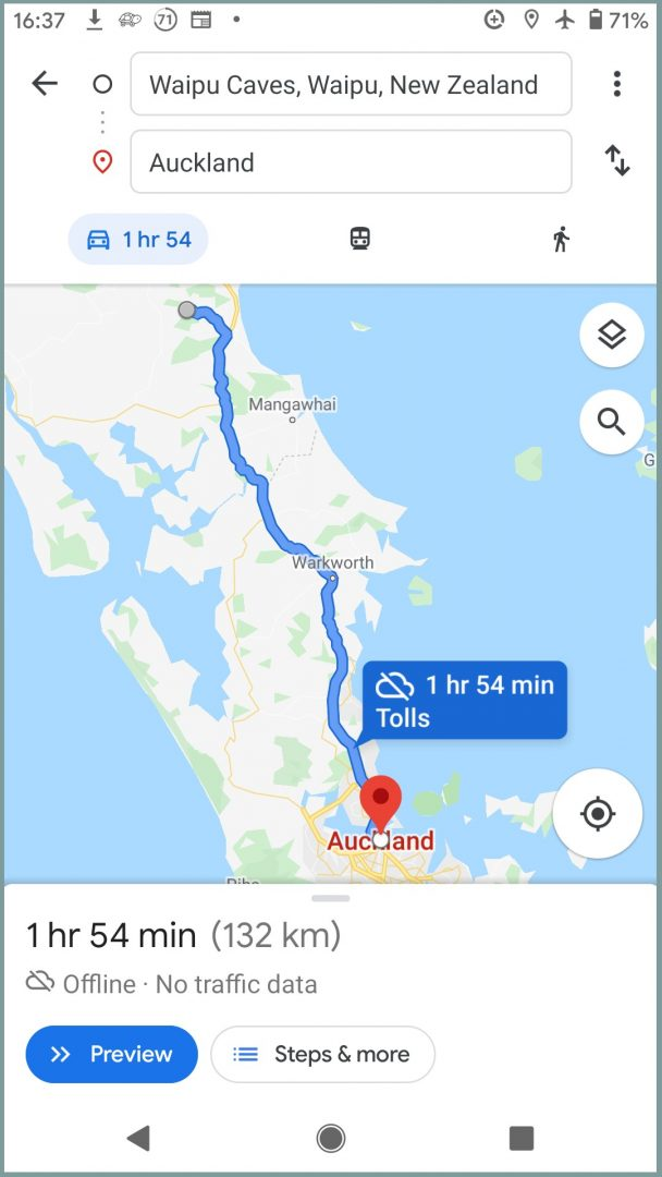 Google maps travel app for new zealand
