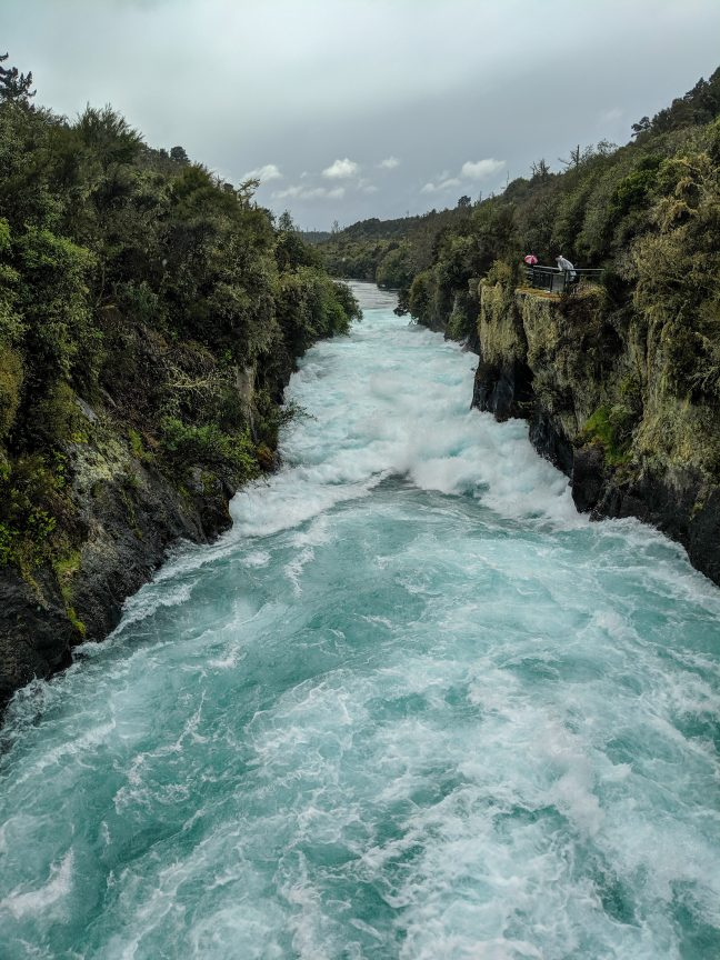 Huka falls view from bridge. New Zealand North Island.