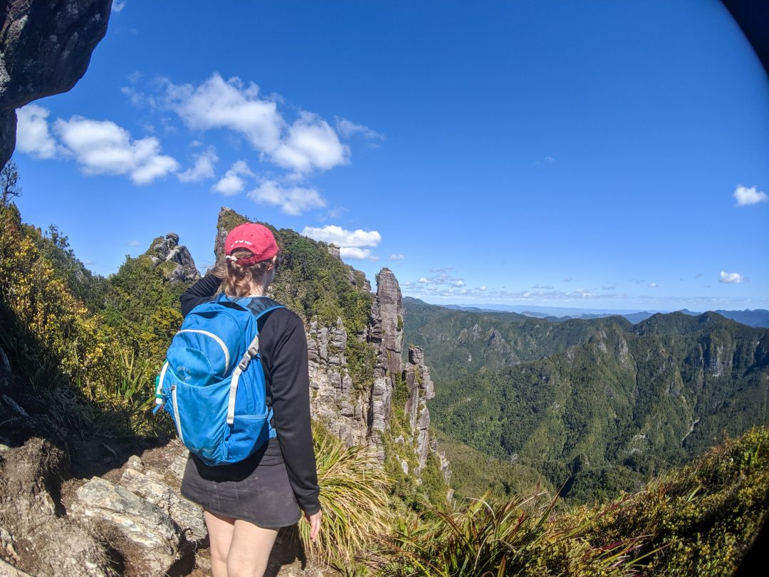 Woman looking out at the Pinnacles Forest Park. Location Coromandel Peninsual New Zealand.