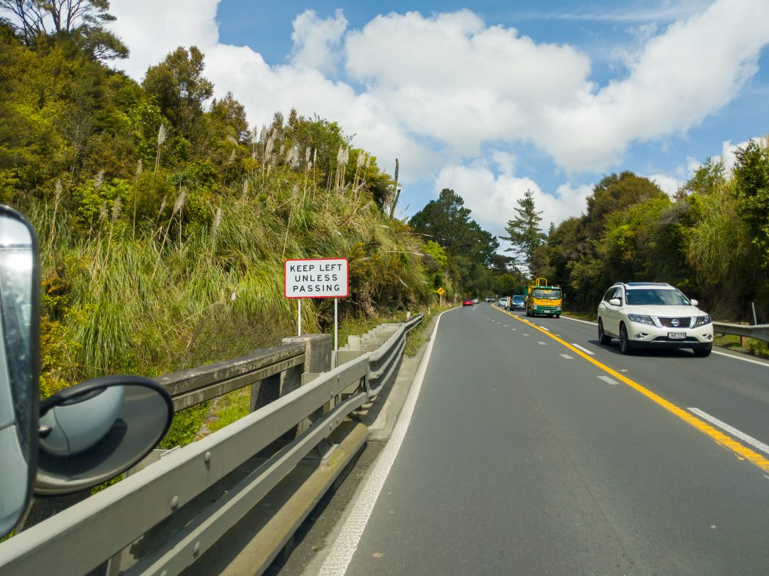 Road reminder to drive on the left when in New Zealand
