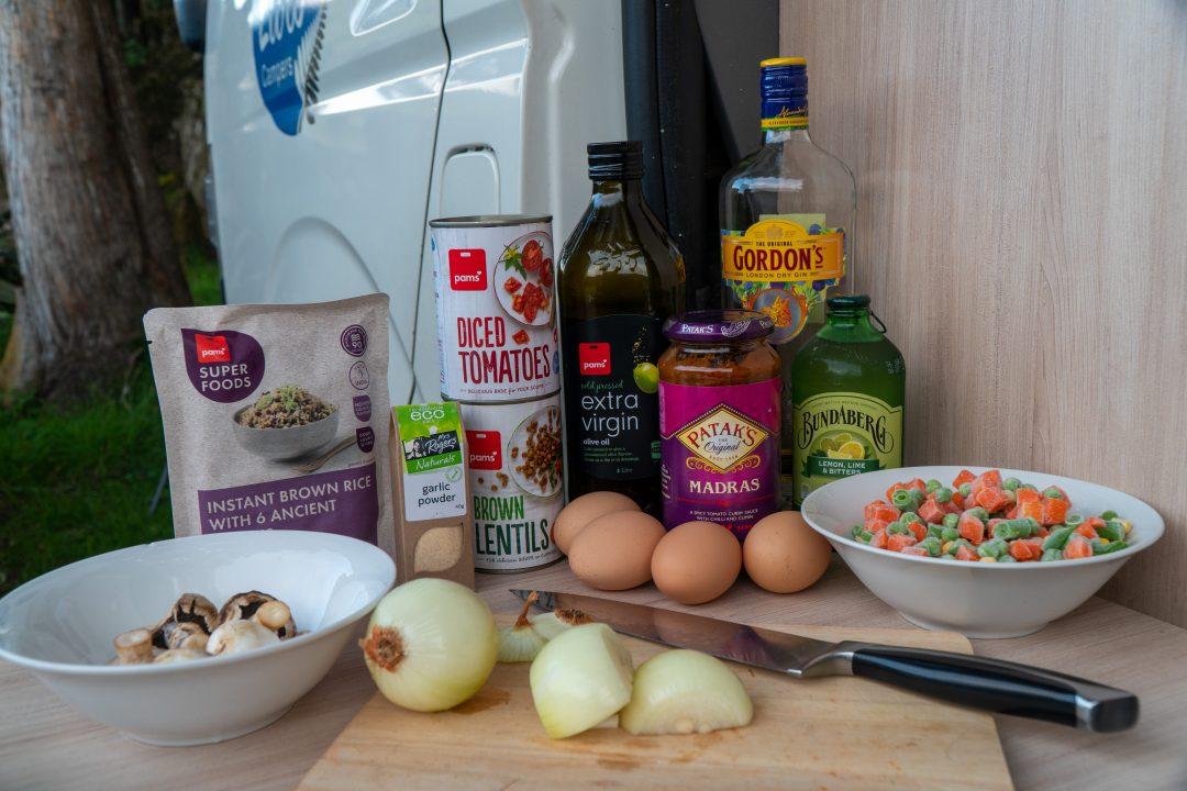 Dinner ingredients for campervan recipe.