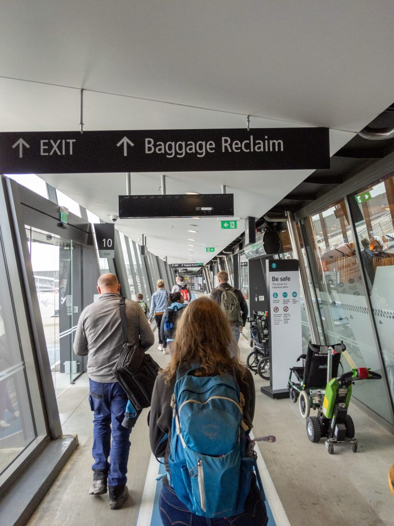 Heading to baggage reclaim, and then onto customs. Christchurch airport.