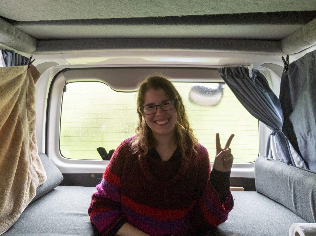 Woman in back of Euro Campers Euro Sky Campervan