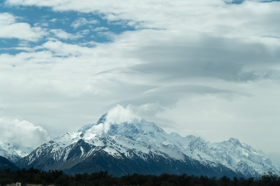 Mount Cook in New Zealand. The Lonely Mountain in The Hobbit.