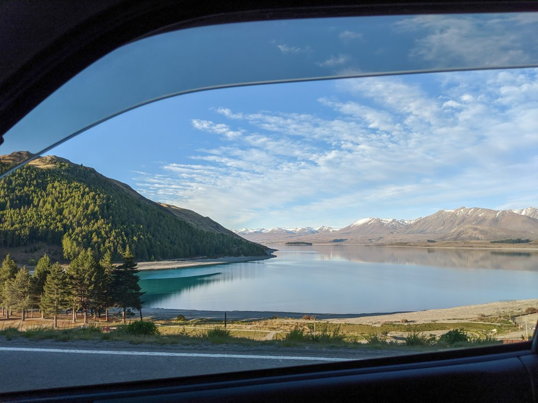 View of New Zealand landscape from Campervan window