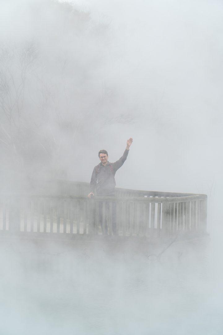 Man Hidden by Steamy Lake in Rotorua