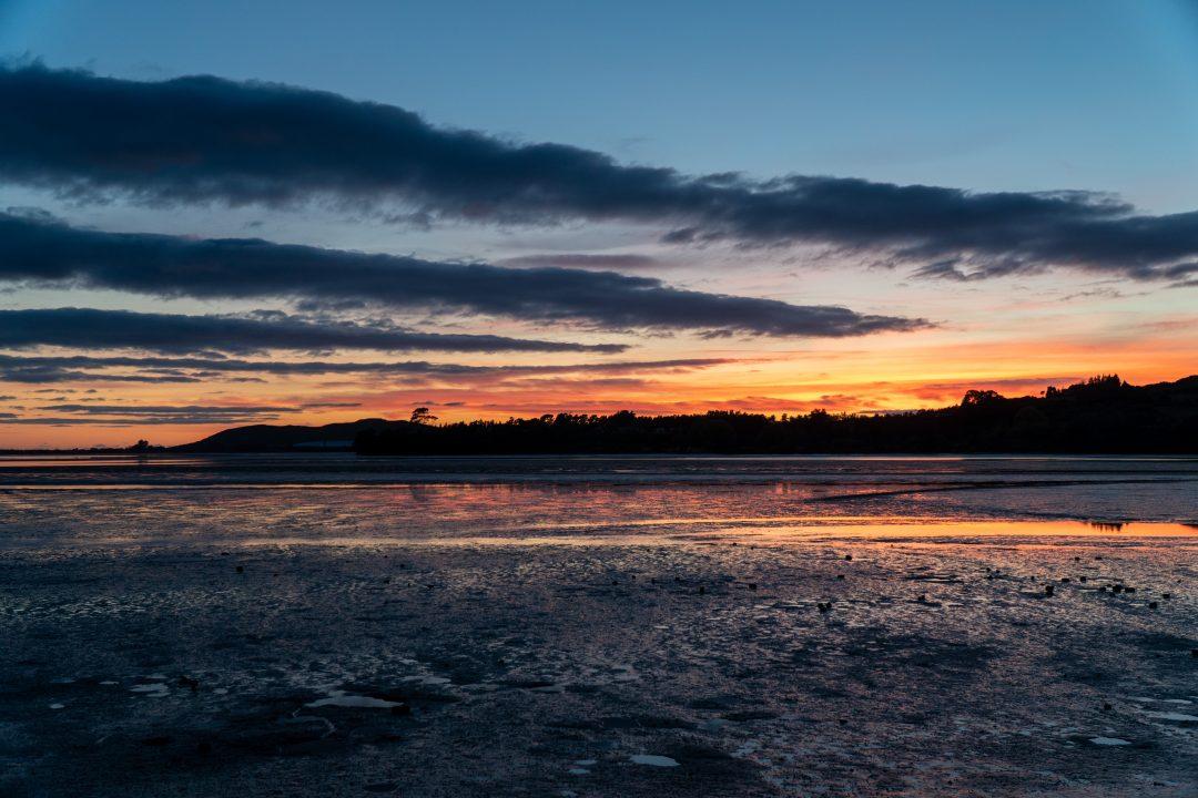 Sunset at Rotary Beach Tauranga, New Zealand's North Island.