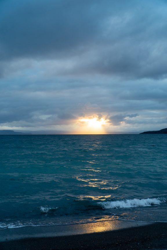 Sunset Lake Taupo New Zealand.