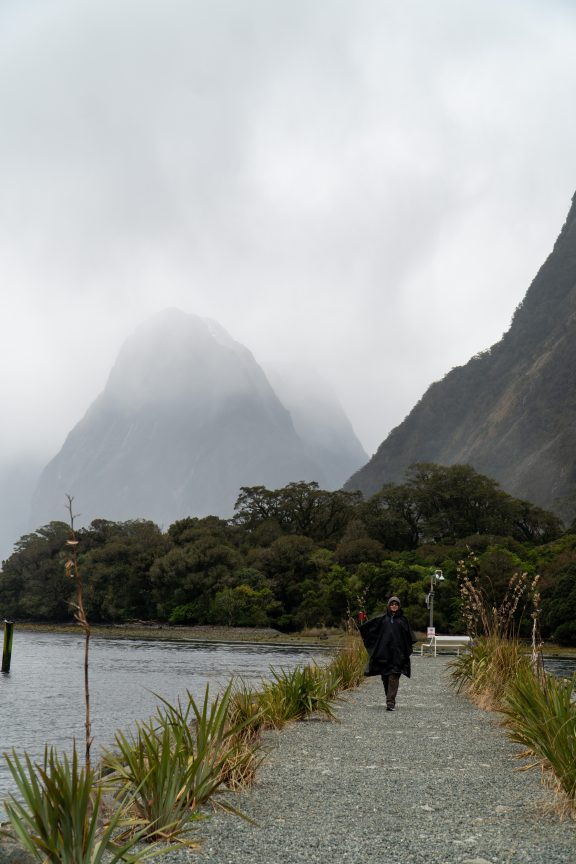 Man Walking along Milford Sound Breakwater