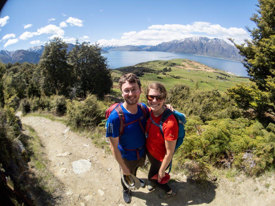 Couple taking a walk on Isthmus Peak in Wanaka