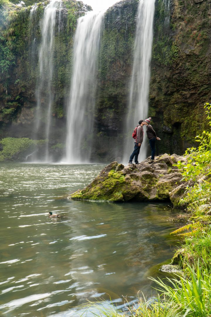 Couple Kissing at Whangarei Falls New Zealand North Island